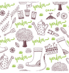 Hand sketch garden pattern with seed packets vector