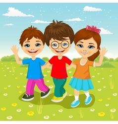 happy caucasian children walking together vector image
