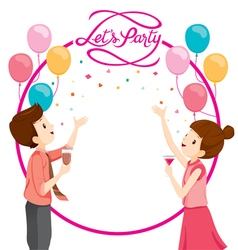 Man And Woman Happy With Party Decoration vector image vector image