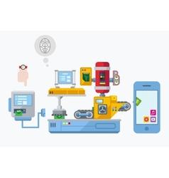 Mobile App Development Production Plant Flat vector image