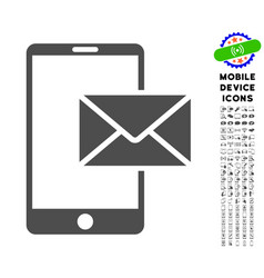 Mobile mail icon with set vector