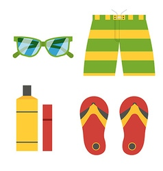 Summer beach accessories icons vector