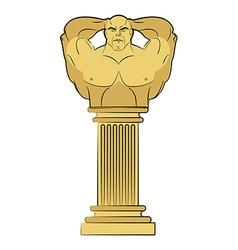 Torso bodybuilder on column pedestal Classic vector image
