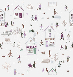 winter seamless pattern with people walking in vector image vector image