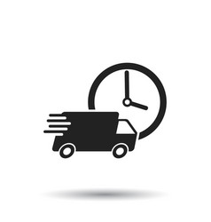 Delivery 24h truck with clock 24 hours fast vector
