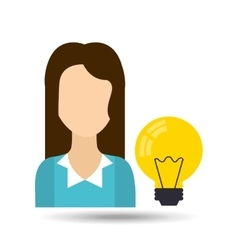 girl with light bulb icon vector image