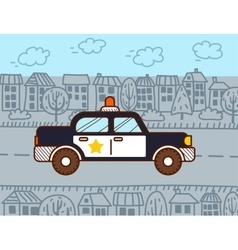 Police car in the city vector image vector image