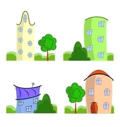 Set of cartoon houses vector image
