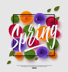 Spring background with handwritten calligraphy vector