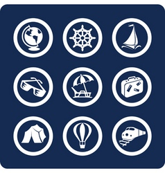 travel and vacation icons vector image vector image