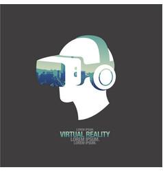 virtual reality headset icon flat icon city vector image