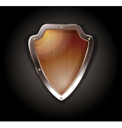 Wooden shield on a metal perforated background vector image vector image