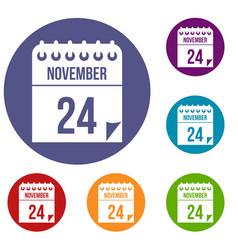 24 november calendar icons set vector image