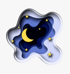 3d abstract paper cut of moon and vector image