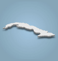 3d isometric map cuba is an island in caribbean vector