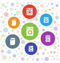 7 laundromat icons vector