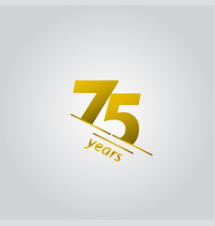 75 years anniversary celebration gold line vector