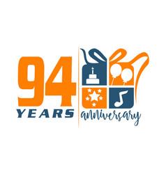 94 years gift box ribbon annivers vector