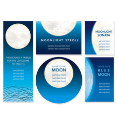 A moonlight message card set vector