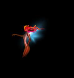 abstract art fantastic girl cosmic glow fire vector image