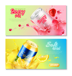 Aluminum cans drinks horizontal banner set vector