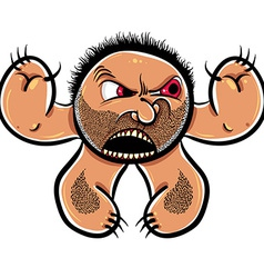 Angry cartoon monster with stubble vector image