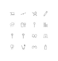 baby kid and newborn linear thin icons set vector image