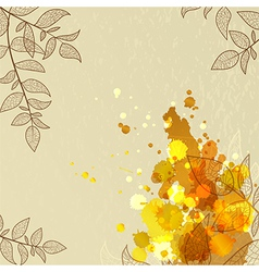 background with orange blots and leaves vector image