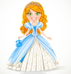 Beautiful red-haired princess in a blue ball gown vector image