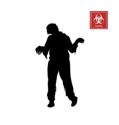 black silhouette of zombie on white background vector image