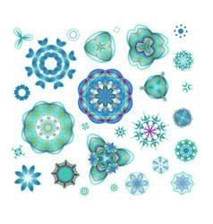 Blue mandala set vector