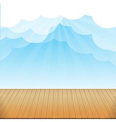 Brown wood floor texture and blue sky sunburst vector image vector image