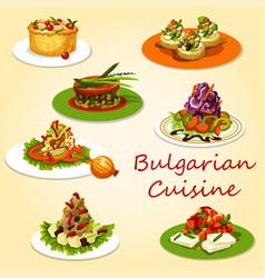 Bulgarian cuisine meat and veggies salads snacks vector