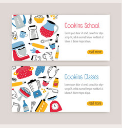 bundle of modern web banner templates with kitchen vector image