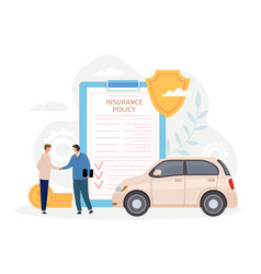 Car insurance policy man handshake with agent vector