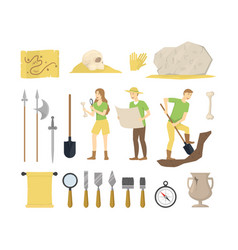 Cartoon color archeology sign icon set vector