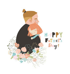 Cartoon father hugging his daughter in flowers vector