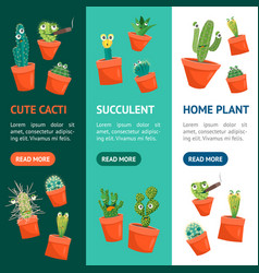 cartoon funny cactus characters banner vecrtical vector image