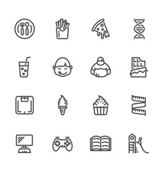 Causes childhood obesity line icons set vector
