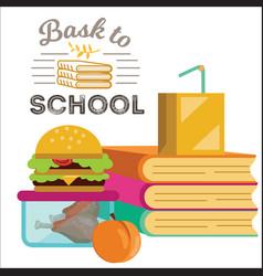 Children dinner poster piles of books lunch box vector