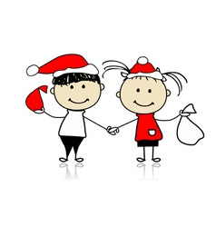 Children with christmas gifts vector