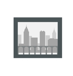 City Silhouette in Dark Frame Isolated on White vector