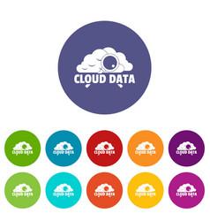 cloud data icons set color vector image