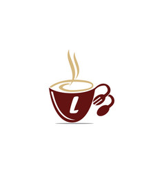 Coffee cup restaurant letter l vector