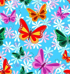 Colorful seamless butterfly pattern vector