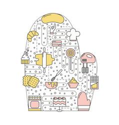 Confectionery oven mitt flat line art vector