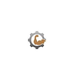 creative gear arm gym logo vector image
