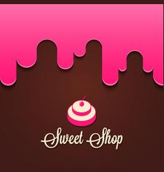 Cupcake with berries splash sweet shop logo vector