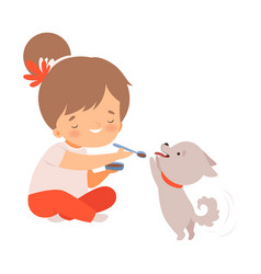 Cute little girl feeding her puppy adorable kid vector