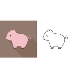 cute pig icon flat and outline design vector image vector image